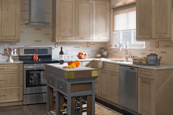 Brown wooden kitchen cupboard
