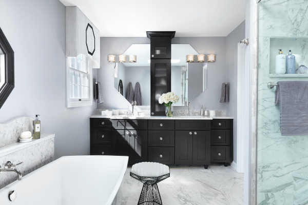 Black wooden cabinets with mirror