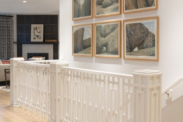 this custom design was repeated as window mullions and wall paneling. St. Louis Architect and Designer Award, Stair and Railing Design