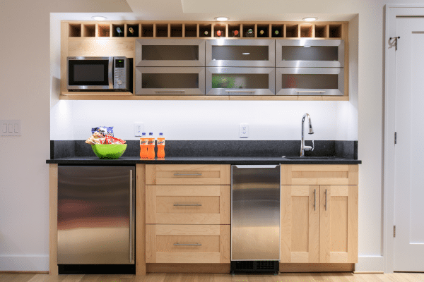 Brown wooden kitchen cabinets interior