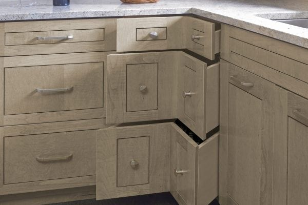 Chevron drawers are the perfect storage solution for a tight corner.