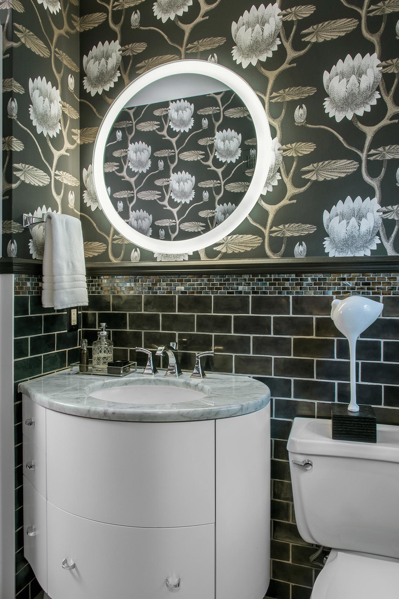 White and gray vanity combo