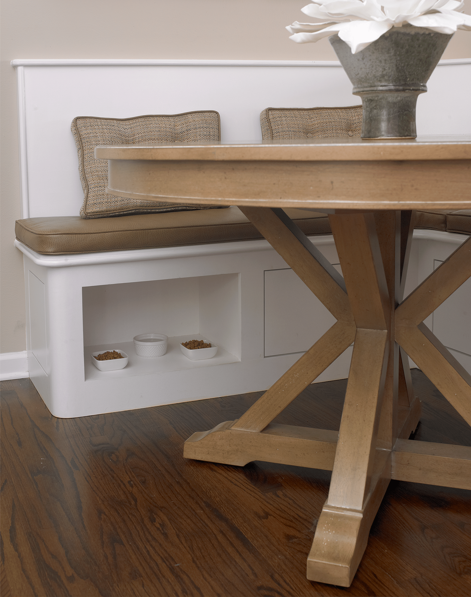 Brown wooden coffee table with vase