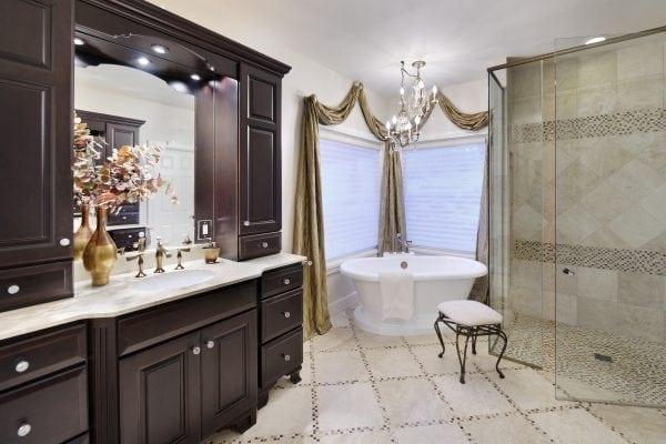 master bath complements the Hollywood Glam bedroom. Crystals throughout feel like diamond glitter.
