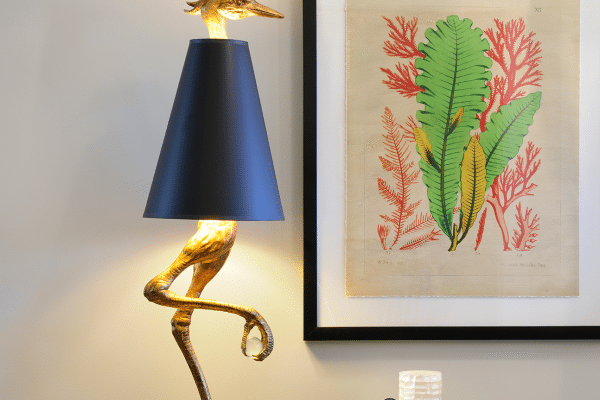 Gold and blue table lamp