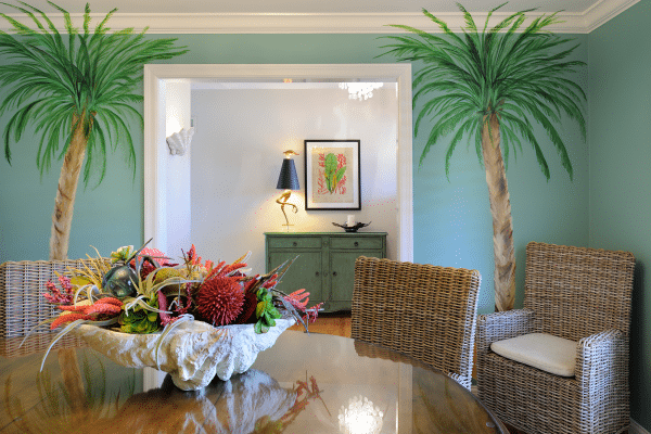 Two palm trees inside house