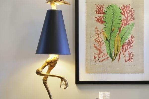 Ibis lamp, seaweed art, abalone shell dish.