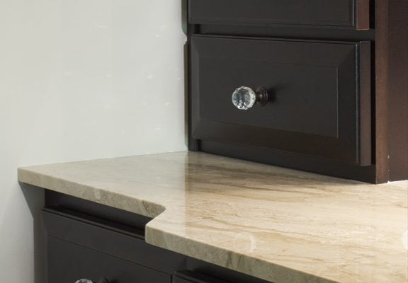 Crystal cabinet knobs add sparkle to dark wood