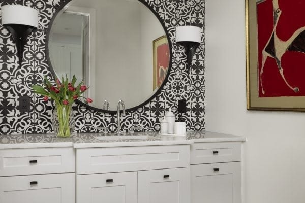 dramatic design with cement tile on the floor and up the wall. ASID Pinnacle Award, Bathroom Design