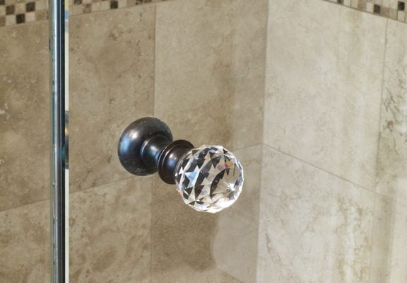 crystal knob on shower door adds one more touch of sparkle
