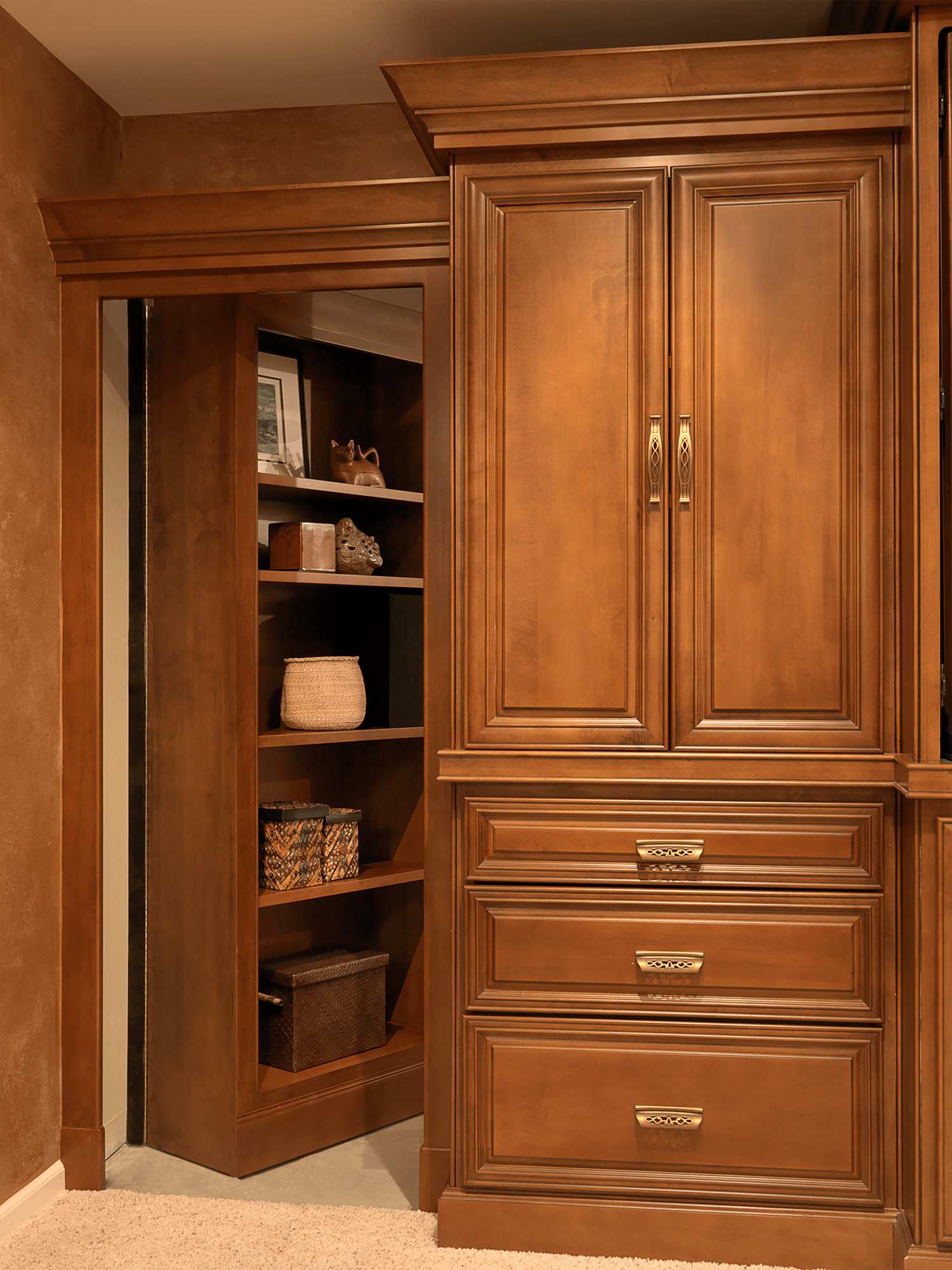 Open wooden closet door