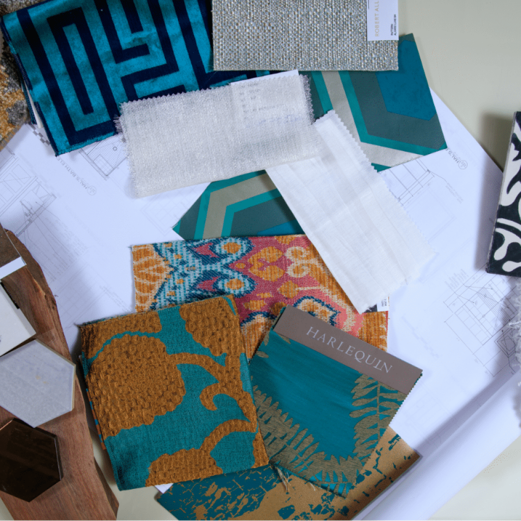 fabric swatches on a table