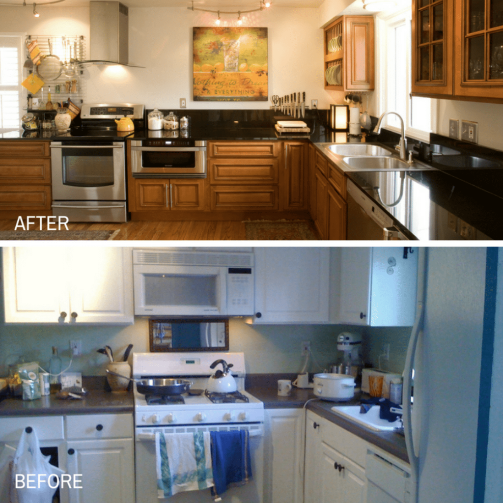 Before and after photo of kitchen cupboard