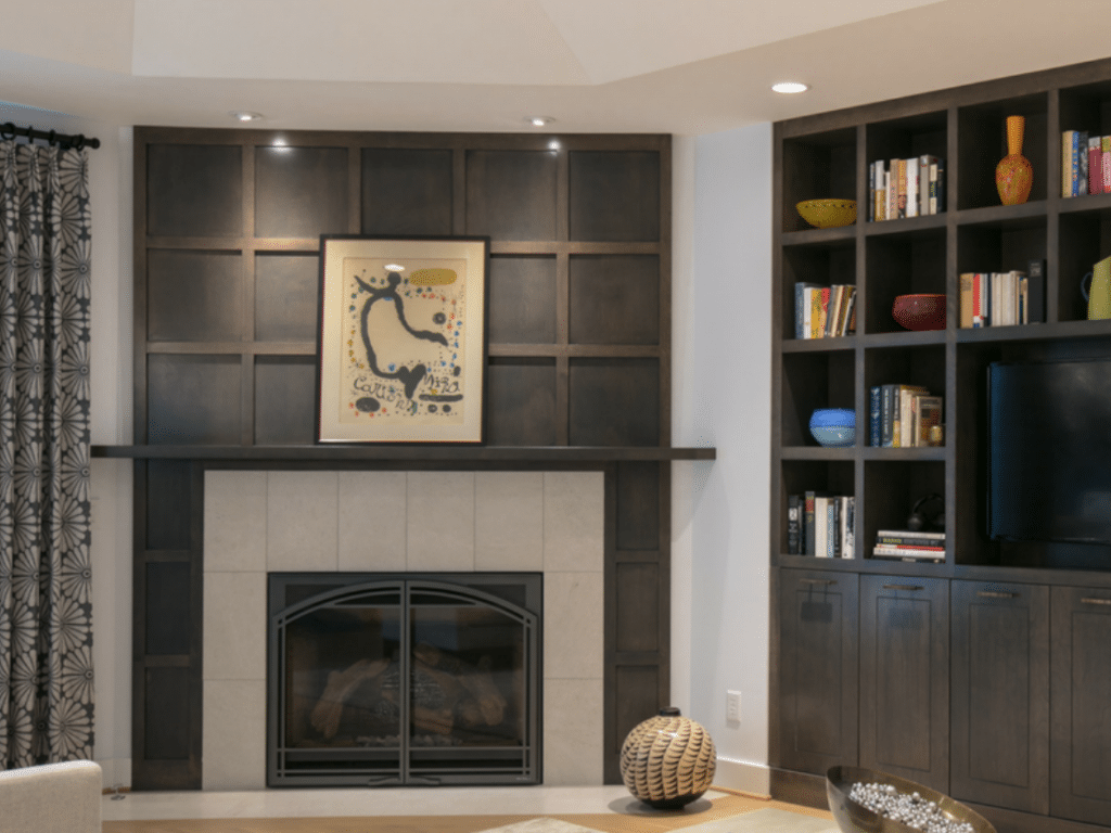 White and black fireplace turned-off