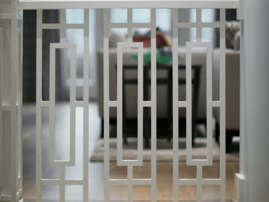 White safety gate on shallow focus lens photography