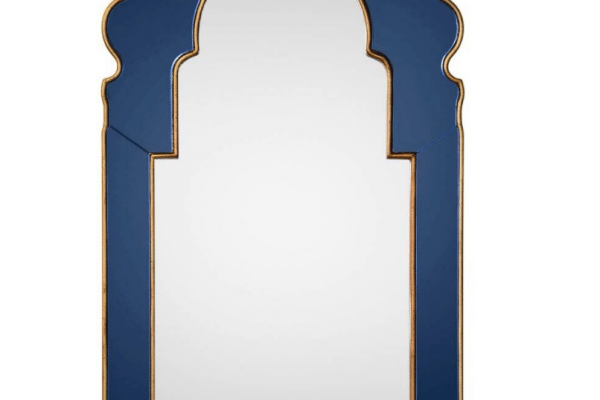 Photo of blue wooden framed mirror
