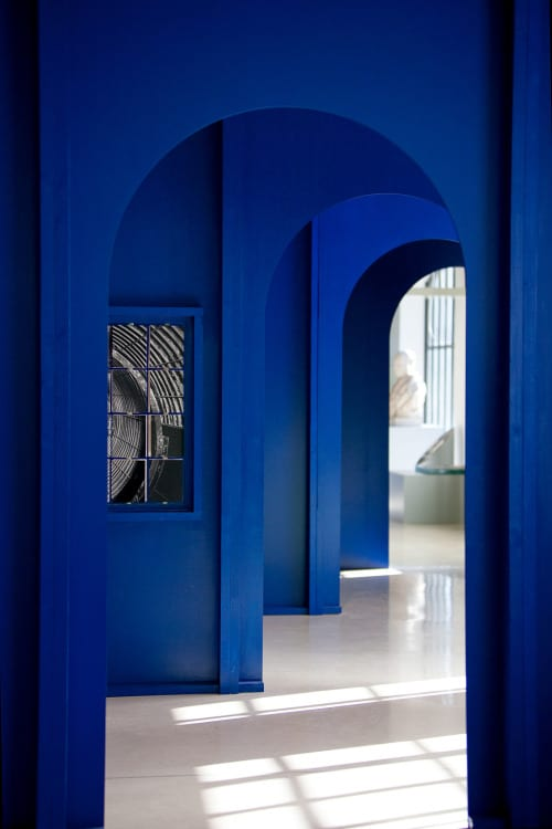 Blue-painted wall