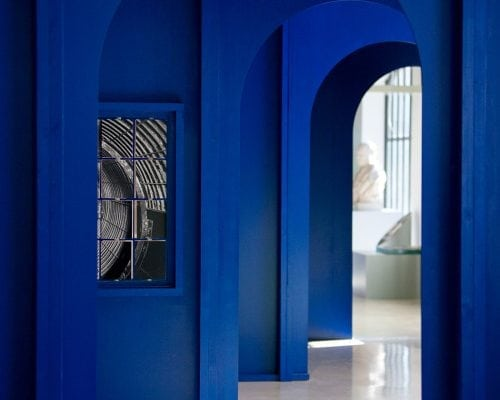 Like something from your dreams, this architecturally interesting hallway layered in electric blue is shockingly beautiful. David Lebreton