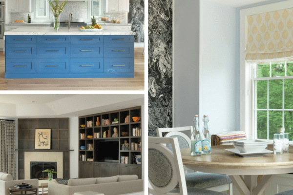 Blue and white home furnitures collage