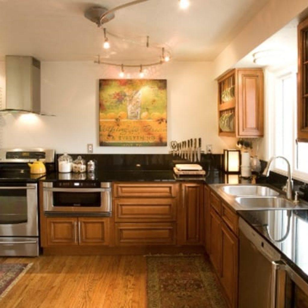 Kitchen interior set during daytime