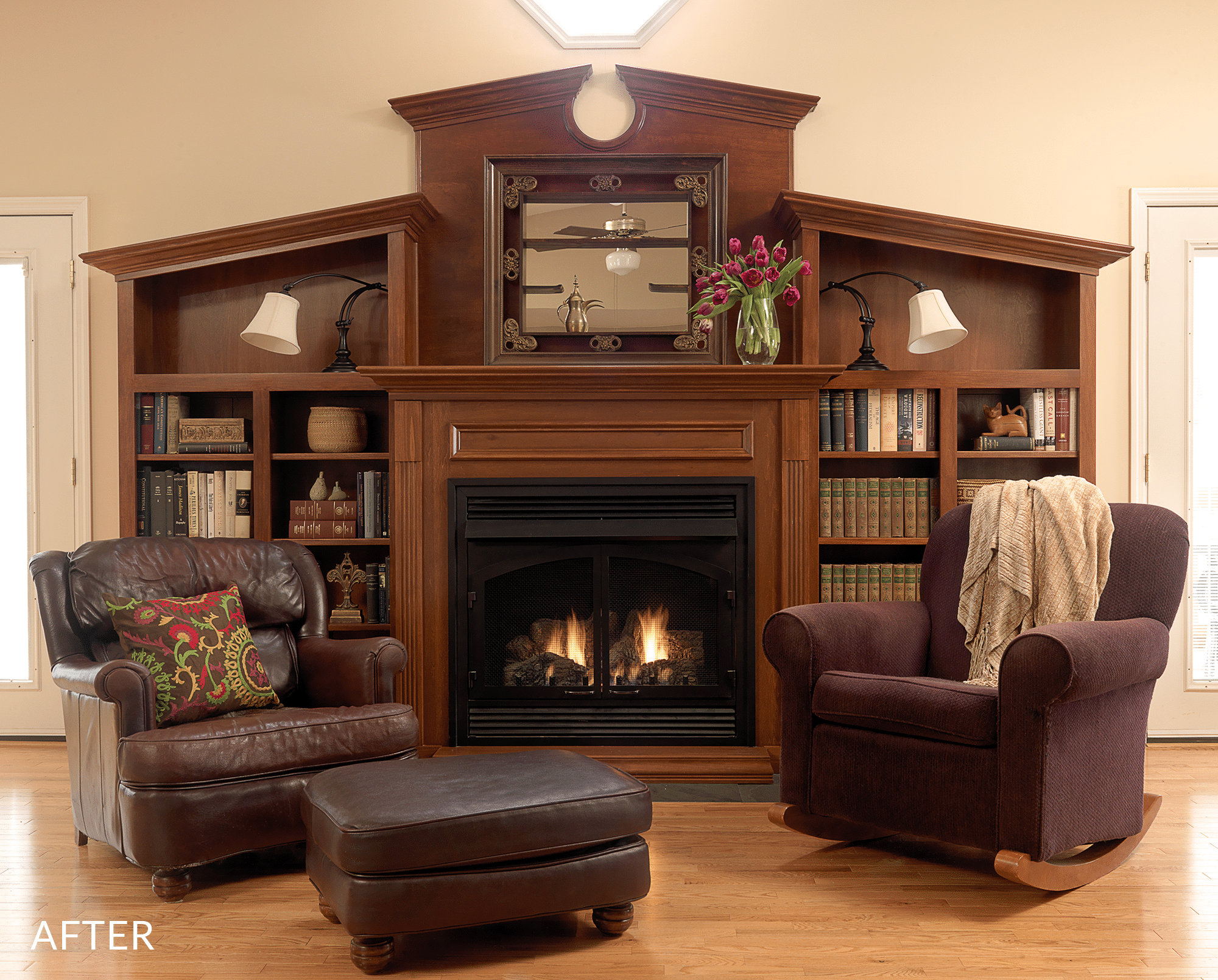 custom fireplace with bookcases built around it