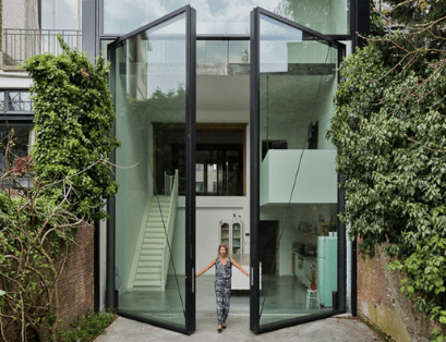 Large glass entry door