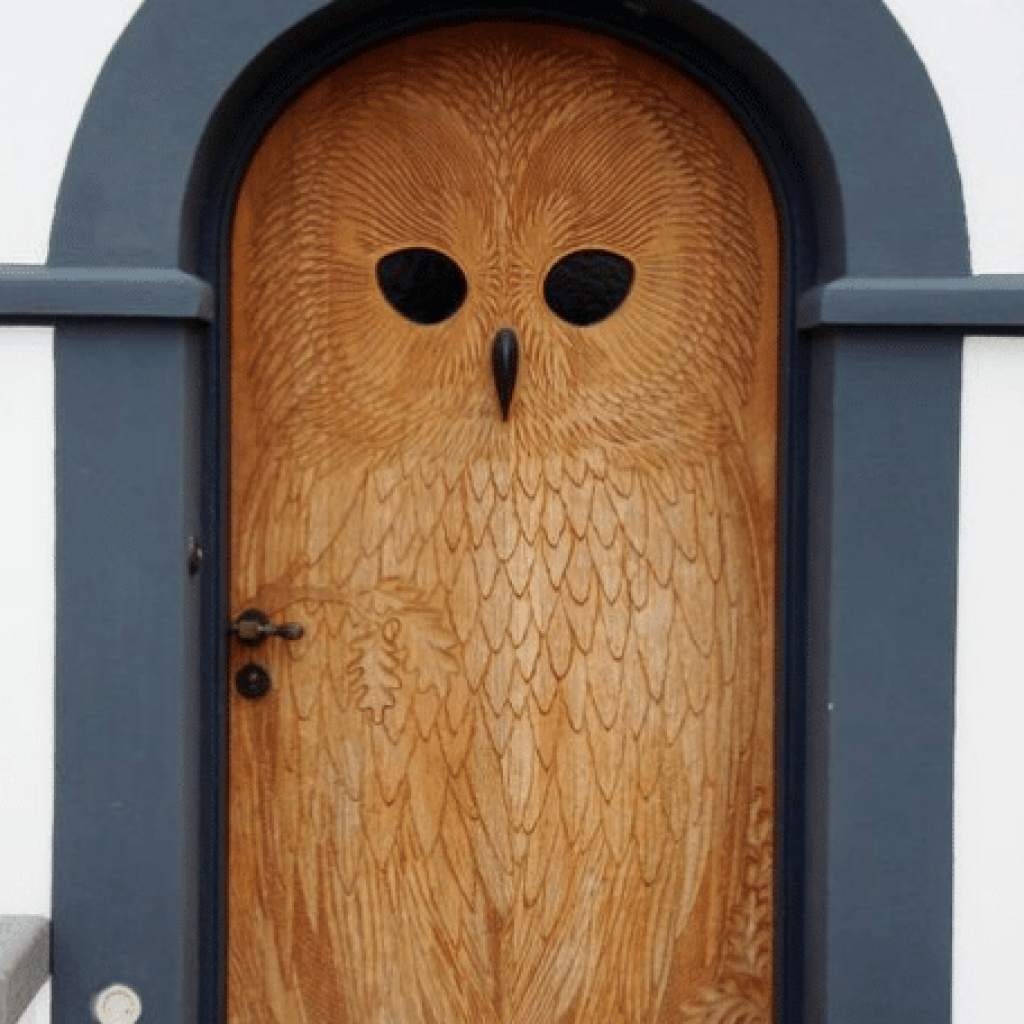 Closed brown wooden owl door