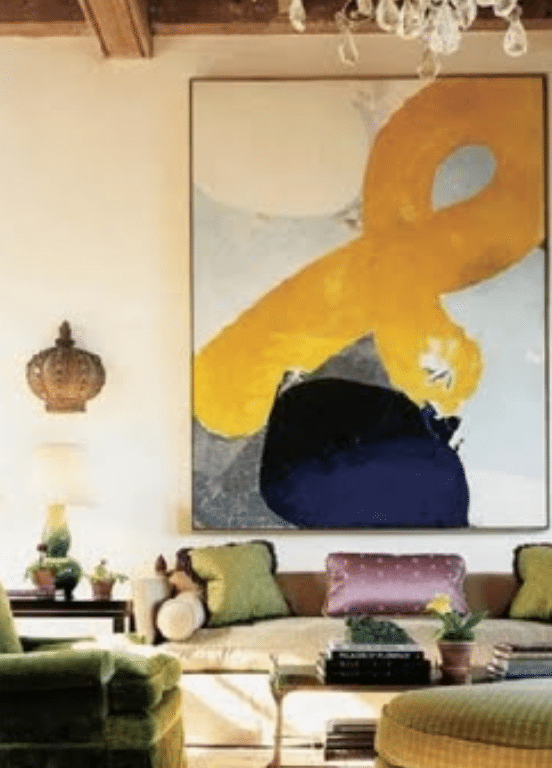 Yellow ribbon painting in the living room