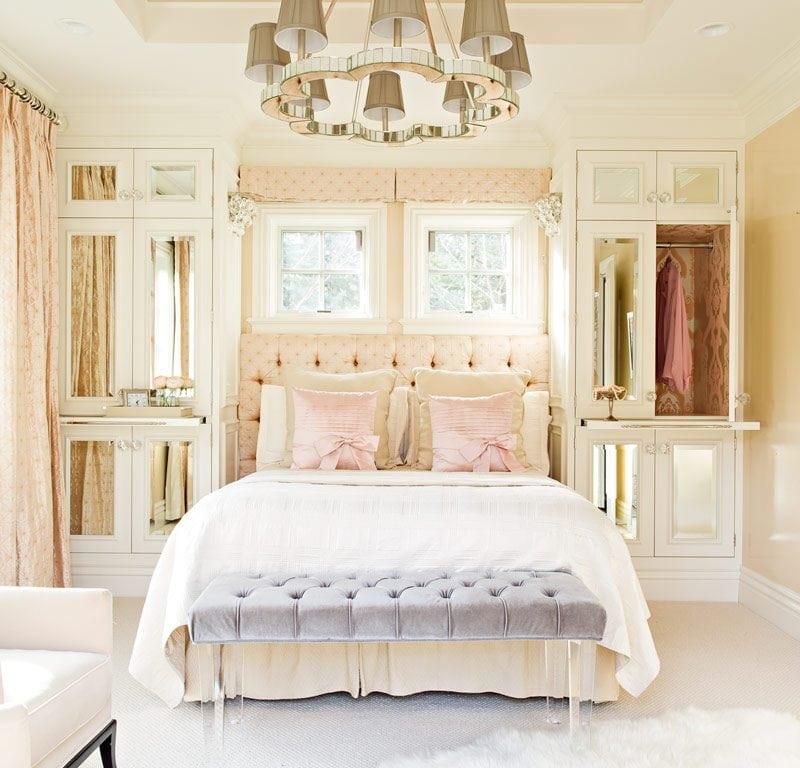 Grey chandelier inside bedroom