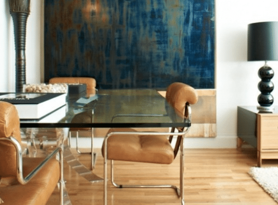 Rectangular glass table with chairs