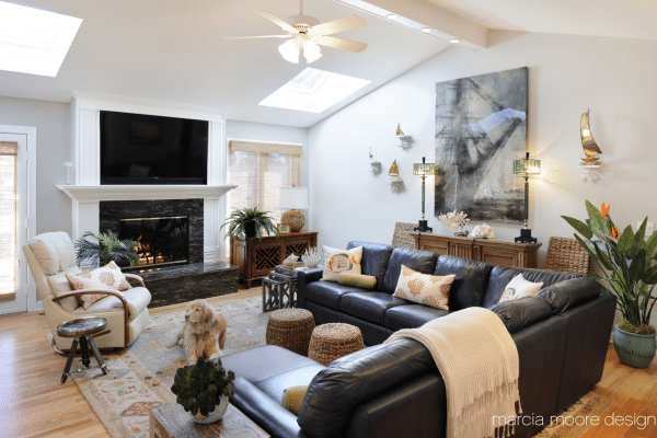 Black leather sectional sofa inside room