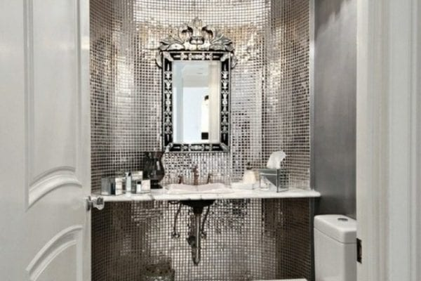 Opened chandelier on bathroom