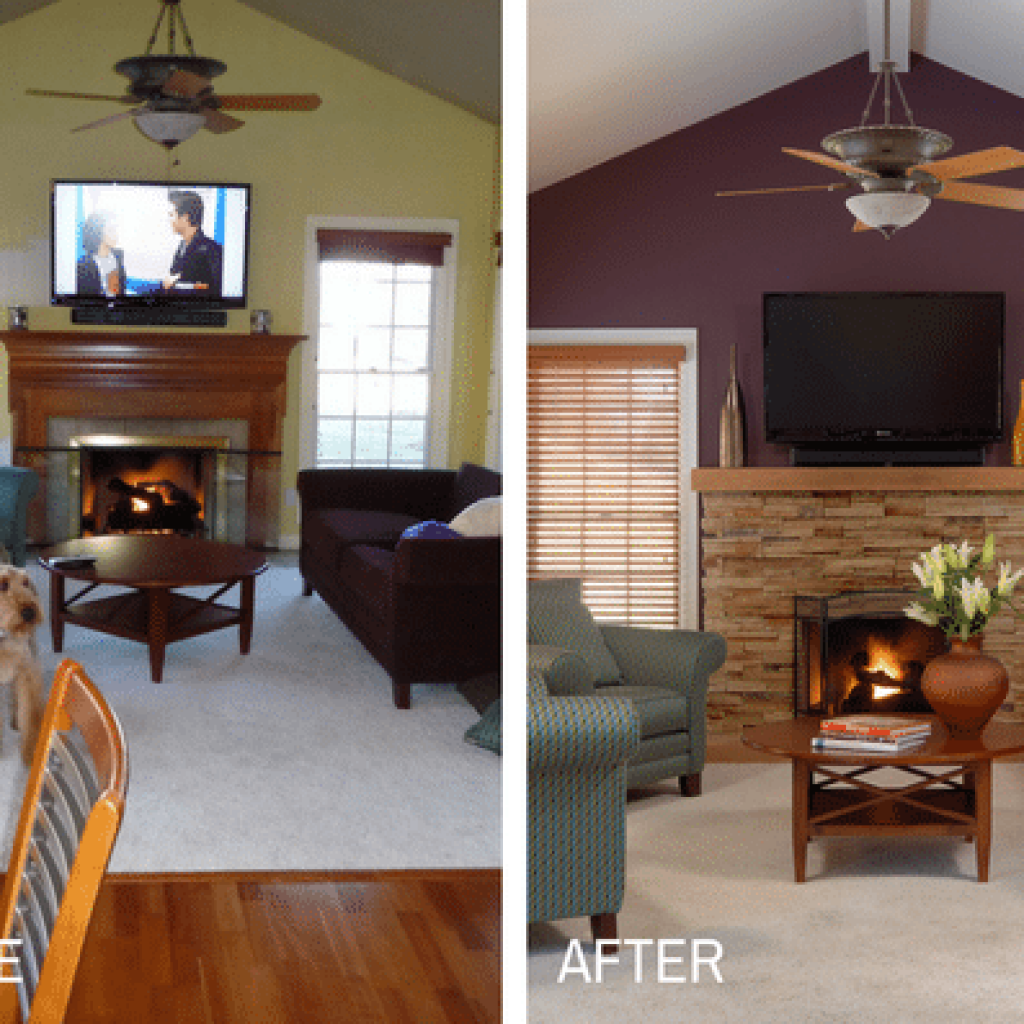 Flat screen television on top of brown electric fireplace collage