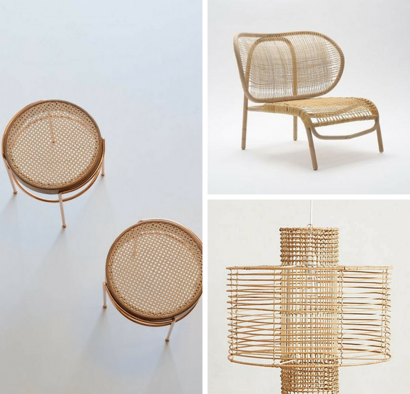 Brown wicker chair, table, and lamp collage
