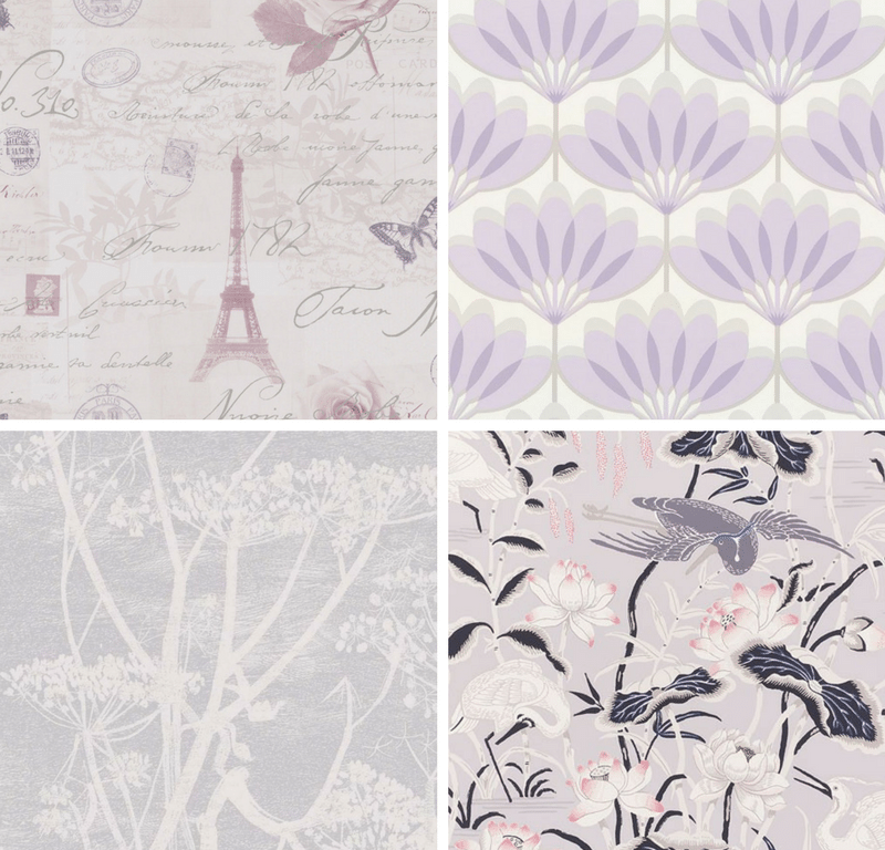 Gray and purple floral wallpaper collage