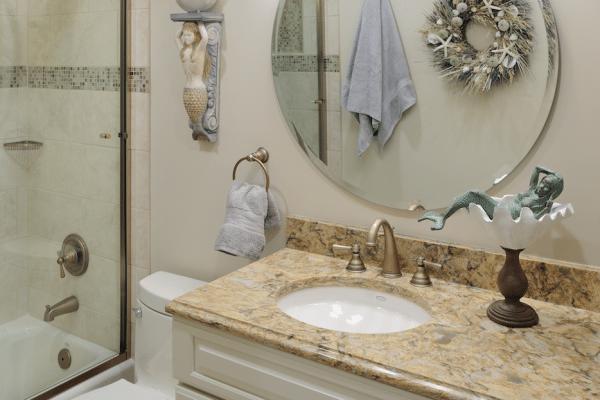 White and brown bathroom vanity