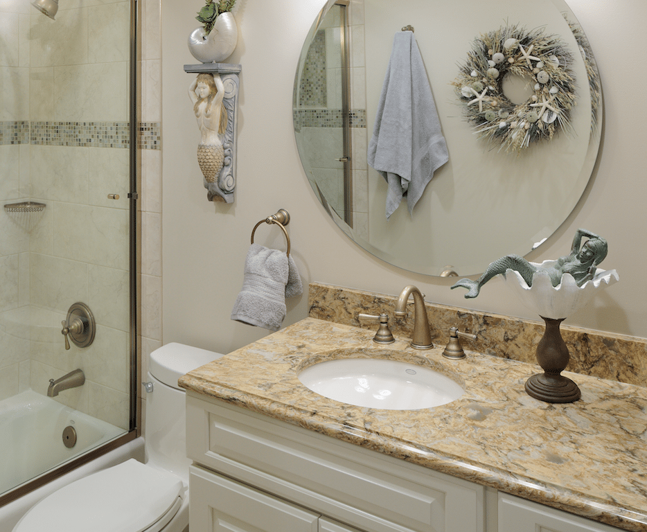 White and brown bathroom vanity