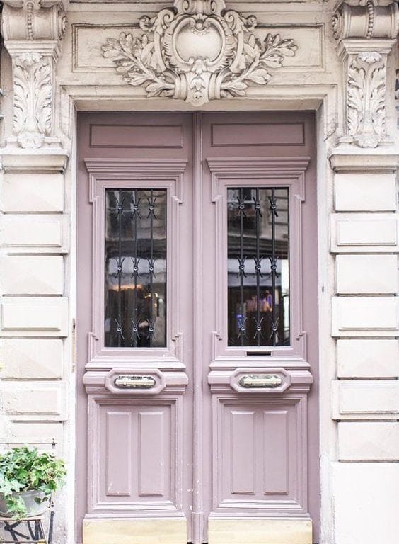 Purple wooden door