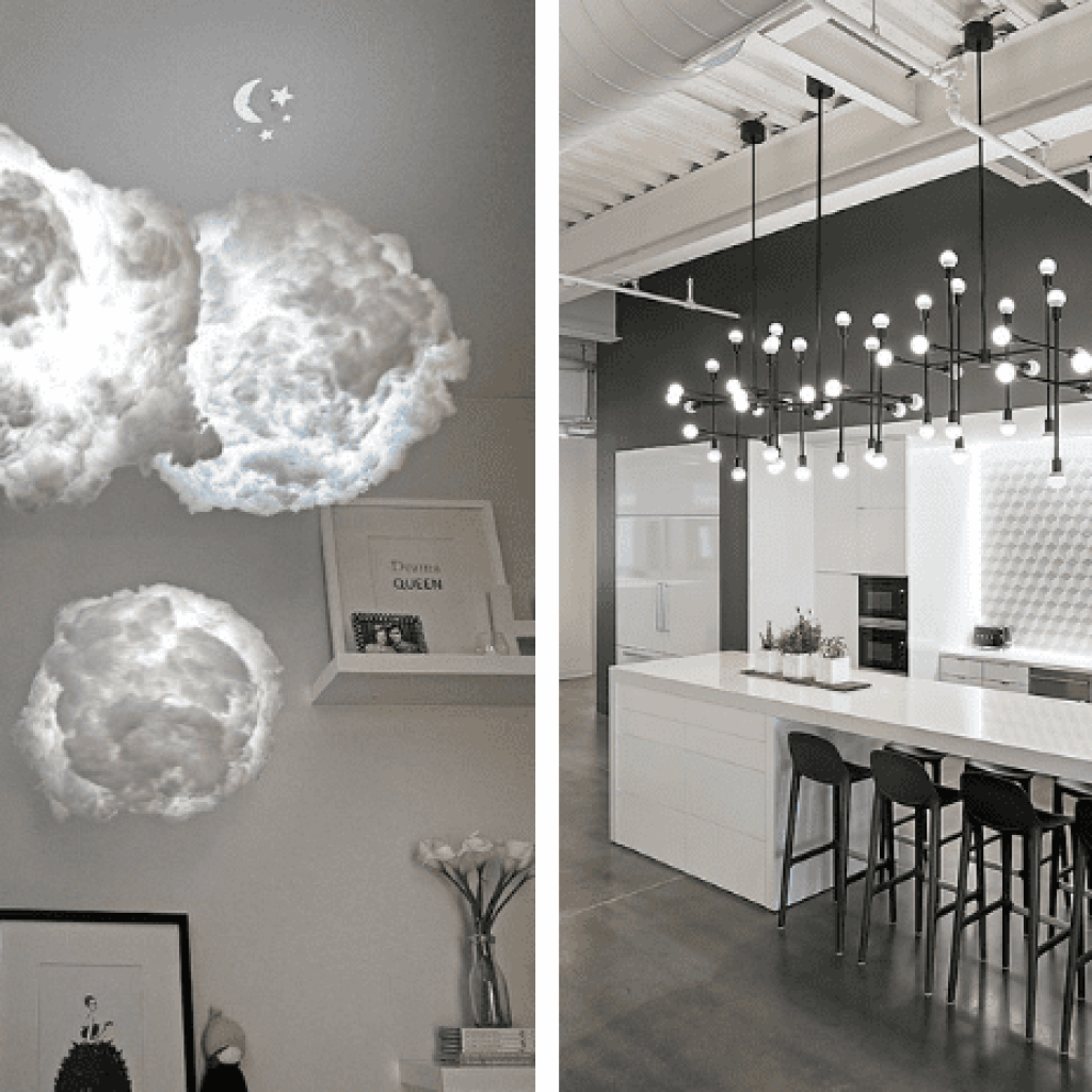 Cloud lighting and contemporary chandelier over island