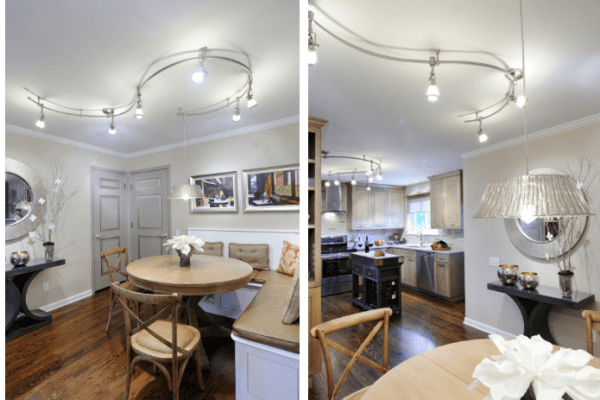 small kitchen with track lighting