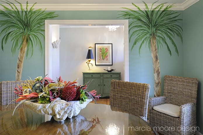 coastal dining room mural of palm trees