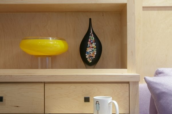 Mug on wooden drawer