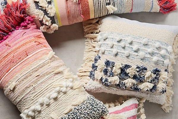 boho chic fringed pillows