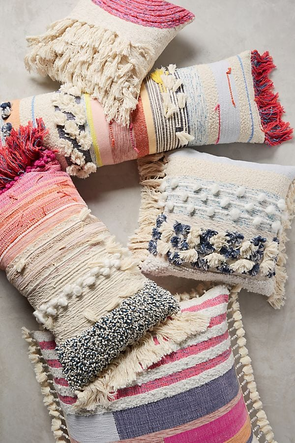 boho chic fringed pillows