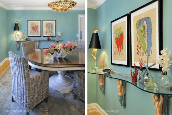 Coastal Home Dining Room and handmade mermaid corbels