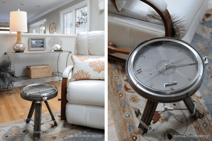 Compass Side Table in Coastal Home Family Room