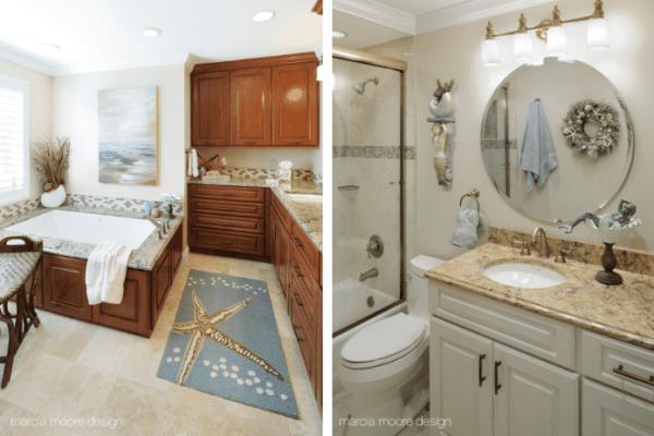 Master Bathroom and Powder Room Coastal Home