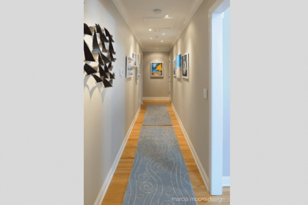 Gallery hallway in coastal home