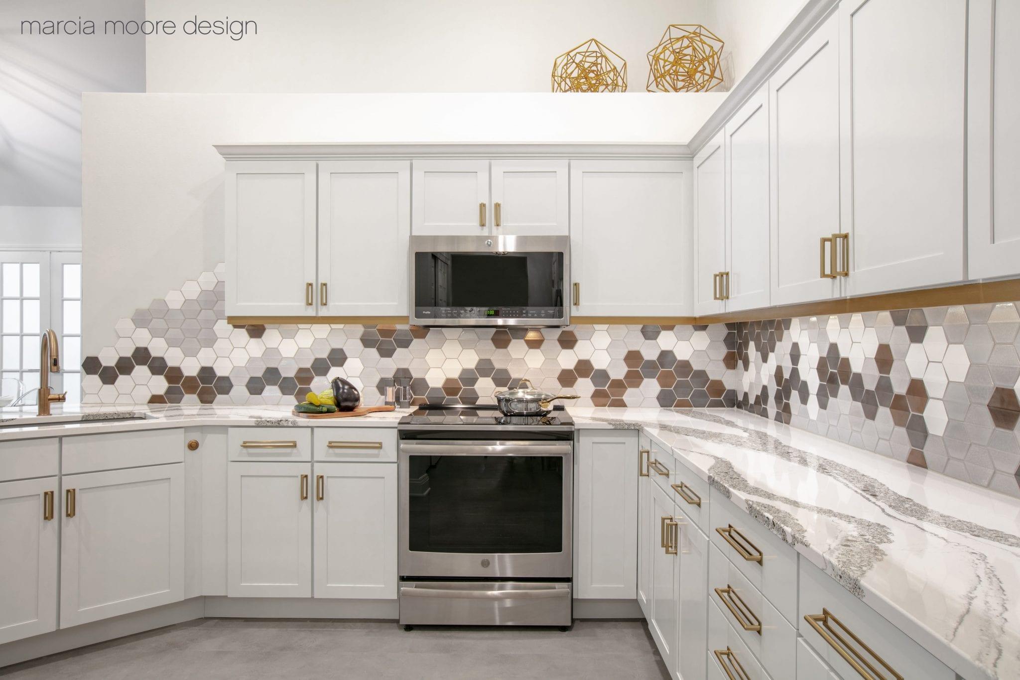 Empty white wooden modular kitchen