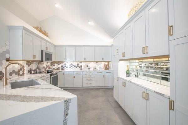 White wooden kitchen cupboard